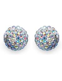 Johareez 2.40 Grams Rainbow Crystal .925 Sterling Silver Ball Shape Stud Earrings For Women