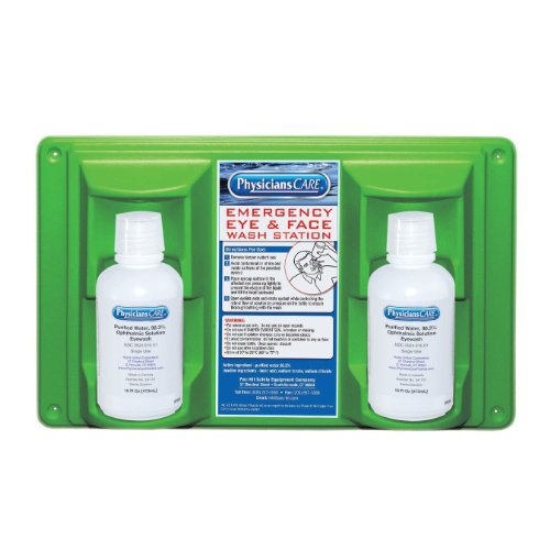 PhysiciansCare 24-102 Wall Mountable Eye and Skin Flush Station with Two 16 oz Bottles, 16-1/2