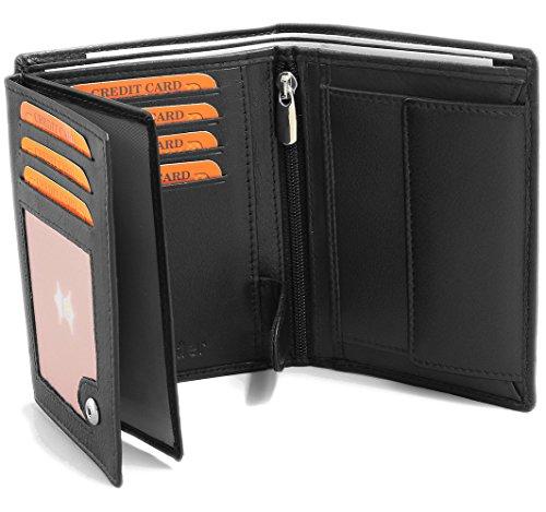 Portefeuille pour homme en real cuir - Porte monnaie 12,5 x 9,5 x 2 cm - Format nouveau permis de conduire - Noir