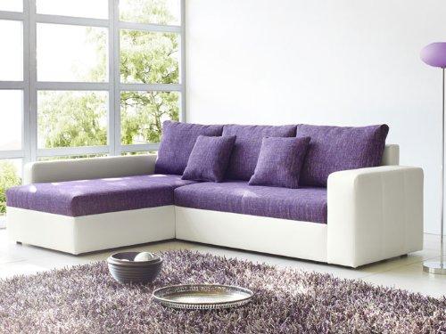 Ecksofa Vida 244x174cm lila weiss Couch Sofa Wohnlandschaft Polsterecke Schlafsofa Schlafcouch
