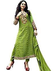 CrazeVilla Women Green Color Georgette Embroidered Salwar Suit.