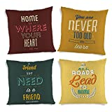 ShopMantra Quotes Printed Cushion Cover Set Of 4 16*16 Inch Multicolor Cushion Cover