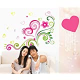 Amaonm® Hot Fashion Removable Diy Nursery Pink Red Love Heart Flowers Vines Wall Decals Stickers Murals Peel...