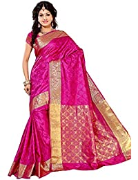 Alankrita Self Design Kanchipuram Art Silk Emboss Tissue Pallu Saree Rani Color
