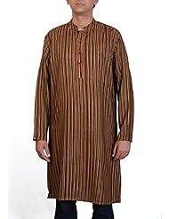 Viniyog Men Hand Woven Hand Block Printed Tussar Silk-Cotton Long Kurta