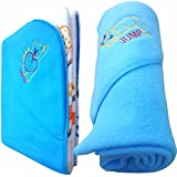 BRANDONN NEWBORN COMBO OF DOUBLE PLY REVERSIBLE HOODED AND FLEECE HOODED BABY BLANKETS(PACK OF 2 , SKY BLUE)