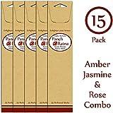 Panchratan Perfumed Charcoal Incense Sticks ( Pack Of 15, 23cms, Amber, Jasmine And Rose Fragrance )