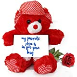 TiedRibbons® Valentine's Day Gifts For Husband Teddy Bear With Valentine's Special Greeting Card And Red Rose