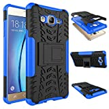 Chevron Hybrid Military Grade Armor Kick Stand Back Cover Case For Samsung Galaxy On5 (Blue)