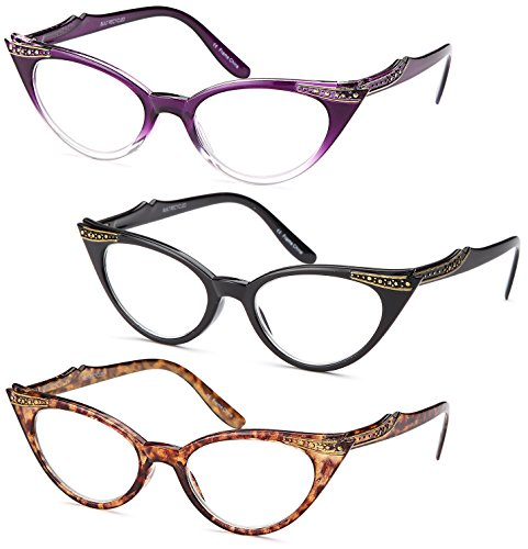 GAMMA RAY READERS 3 Pairs Ladies' Vintage Cat Eye Readers Quality Reading Glasses for Women