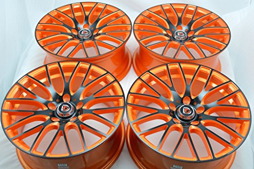17″ Wheels Rims ddr zuki Orange with Polished Black Face Finish 17×7.5 5×114.3 38mm Offset 5 Lugs Bolt Pattern (Set of 4)