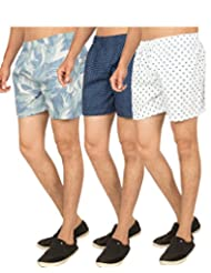 Truccer Basics Mens Printed Cotton Boxers Pack Of 3 - B017B79SWU