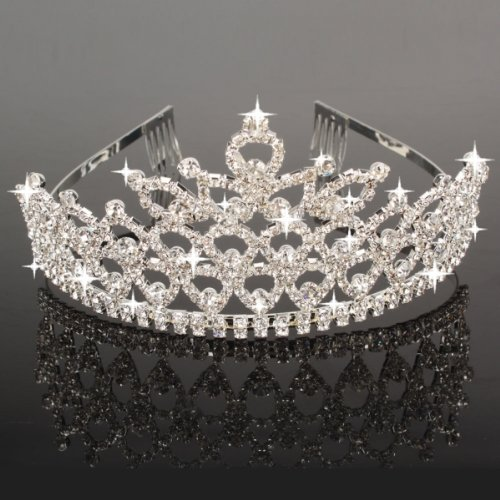 Charming Rhinestone Heart Flower Design Tiara Crown Headband Comb Pin Wedding Bridal Party Birthday Tiaras