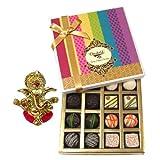 Chocholik Belgium Chocolates - Assorted White And Dark Truffle And Chocolate Gift Box With Ganesha Idol - Diwali...