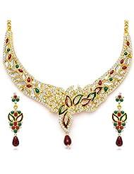 Sukkhi Sleek Gold Plated Meenakari AD Necklace Set