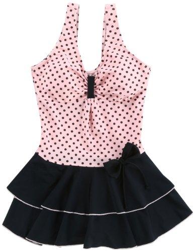 (ジンシロン)jinsirong 水着 レディース ピンク黒で小悪魔コーデワンピース水着 1377 Pink Black ピンク・ブラック L