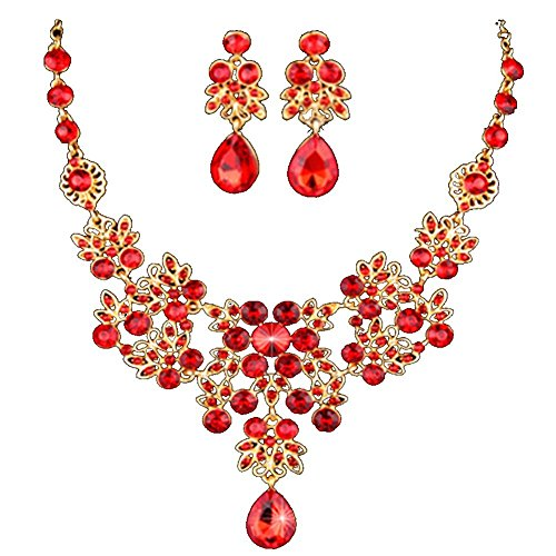 Outop Silver Red Alloy Rhinestone Earrings Crystal Pendant Necklace Bridal Jewelry Set (Red)