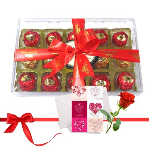 Nicely Wrapped Chocolate Treat With Love Card And Rose - Chocholik Luxury Chocolates