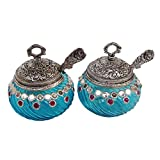 Rastogi Handicrafts Glass Decorated Bowl With Lid And Spoon FOR TEA AND SUGAR STORAGE BOWL (Blue, Pack Of 2)