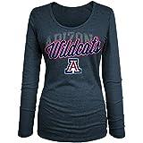 NCAA Arizona Wildcats Women's Tri Blend Long Sleeve U-Neck Tee, Large, Heather Navy