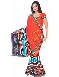 Exotic India Golden Oak Printed Leheria Sari With Embroidered Booti - Golden Oak