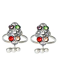 DollsofIndia Multicolor Stone Studded And Toe Ring - Stone And Metal - Multicolor