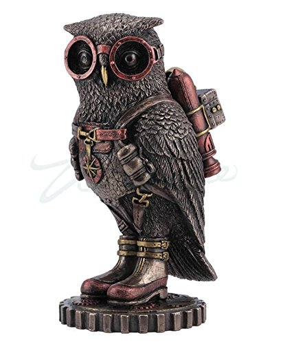 Steampunk Owl with Jetpack Statue Sculpture