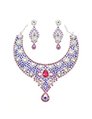 Grand Austrian Diamond Necklace Set By Zaveri Pearls - B00NEGG9A2