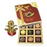 Chocholik Belgium Chocolates - 9pc Heavenly Treat Of Truffles With Ganesha Idol - Diwali Gifts