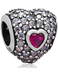 Choruslove 925 Sterling Silver In My Heart Charm Bead With Pave Zircon Stone For European Bracelet Jewelry