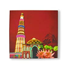 """The Bombay Store Wood & Canvas Print Wall Art - Kutubminar L 12"""" H 12"""""""