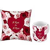Valentine Gifts For Boyfriend Girlfriend Multicolour Rose Bunch Romantic Rose For A Rose 12X12 Printed Filled...