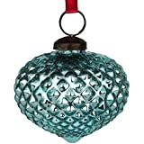 Set Of 4 Handcrafted Blue Coloured Chirstmas Decoratives / Glass Hanging Ball-3 Inch