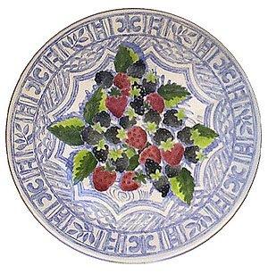 Gien Oiseau Bleu Fruits Cake Platter, Raspberries and Blackberries