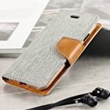 First 4 Covers For Motorola Moto G 2nd Gen Flip Cover Dairy Wallet Case (Canvas Series) (Grey)