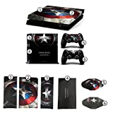DICOOL Captain Americna Vinyl Decal Protective Cover Sticker for Sony PS4 Console and 2 Dualshock Controllers Skin set