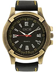 """Dice """"Brasso-0713"""" Casual Round Shaped Wrist Watch For Men. Fitted With Stylish Brass Polish Case, Beautiful Black..."""