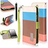E LV PU Leather Folio Flip Wallet Case Cover For Samsung Galaxy Note 3 N9000 (Blue Brown Orange)