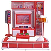 Qun Feng Doll House Furniture Living Room With Sofa, Tv& Lamp Night, Perfect For Use With Dolls