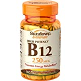 Sundown Naturals High Potency B12, 250 Mcg, 100 Tablets (Pack Of 3)