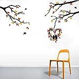 Rawpockets Love Birds On Hanging Heart-in Shape Tree' Wall Decal Sticker