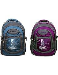 Attache Stylish School Bag (Blue & Purple) Set Of 2