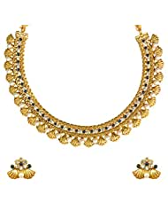 Ethnic Indian Bollywood Jewelry Set Golden Shell Design Pearl Polki Necklace SetABNE0333BL