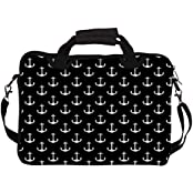 """Snoogg Black And White Anchors 14"""" 14.5"""" 14.6"""" Inch Laptop Notebook SlipCase With Shoulder Strap Handle Sleeve..."""