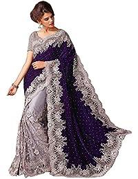 Fashion Dream Women's Net Saree With Blouse Piece