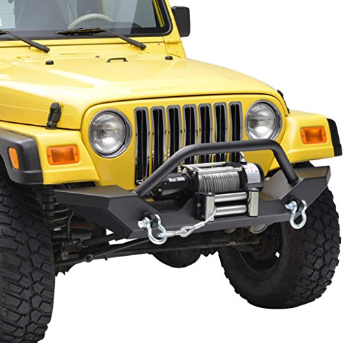 E-Autogrilles 51-0034 Fit For 87-06 Jeep Wrangler TJ YJ Rock Crawler Front Bumper with 2x D-ring & Winch Plate