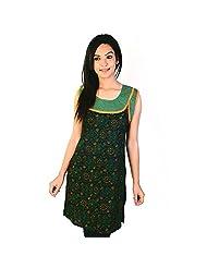 Jaipur RagaDesigner Rajasthani Print Green Cotton Kurti Woman Cotton Kurti