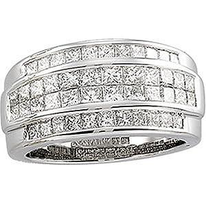 IceCarats Designer Jewelry 14K White Gold Diamond Ring. Size 5
