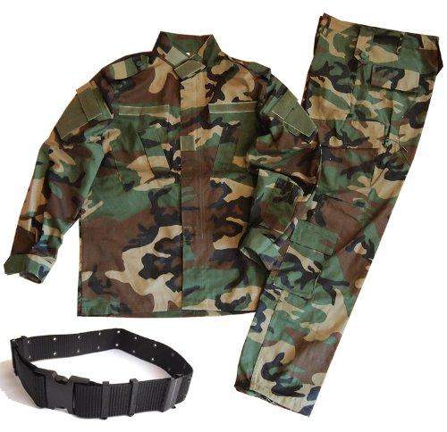 迷彩服 戦闘服 BDU パンツ&ジャケット 上下セット デューティーベルト タクティカル ピストルベルト がセット SSサイズからLサイズまで 幅広いサイズに対応 (SS, ウッドランド迷彩)
