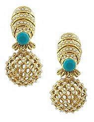 The Art Jewellery Turquoise Stone & Moti Rajwadi Net Dangle&Drop Earrings For Women